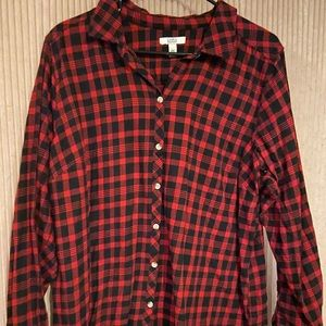 Red and black checkered button down